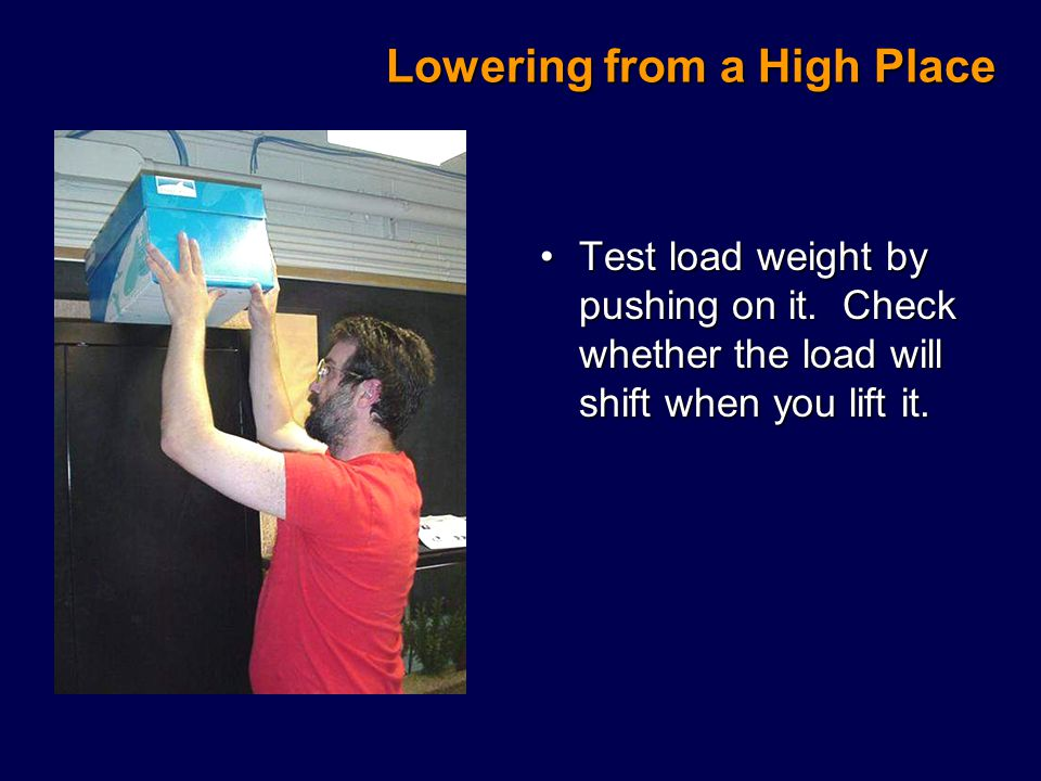 Lowering from a High Place Test load weight by pushing on it.