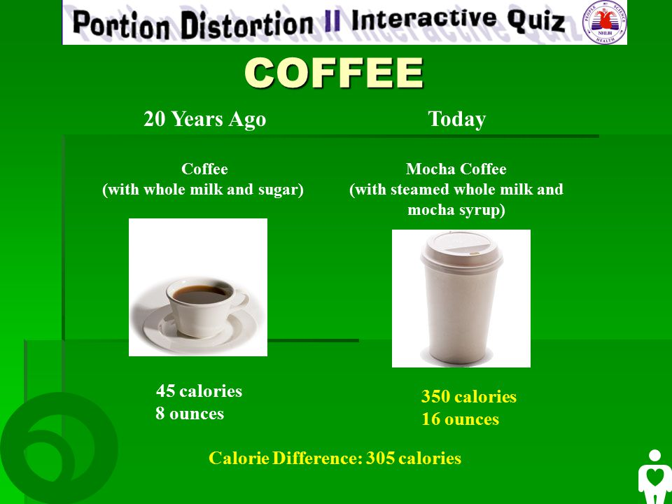 COFFEE COFFEE 20 Years Ago Coffee (with whole milk and sugar) Today Mocha Coffee (with steamed whole milk and mocha syrup) 45 calories 8 ounces 350 calories 16 ounces Calorie Difference: 305 calories