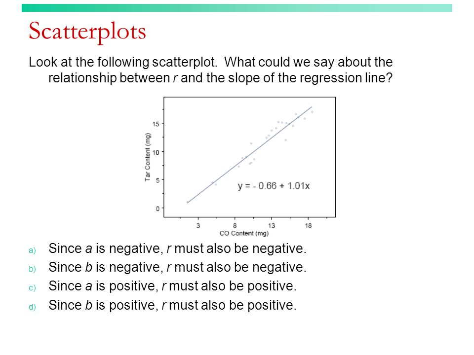 Residual plots (answer) The following are regression assumptions: 1.