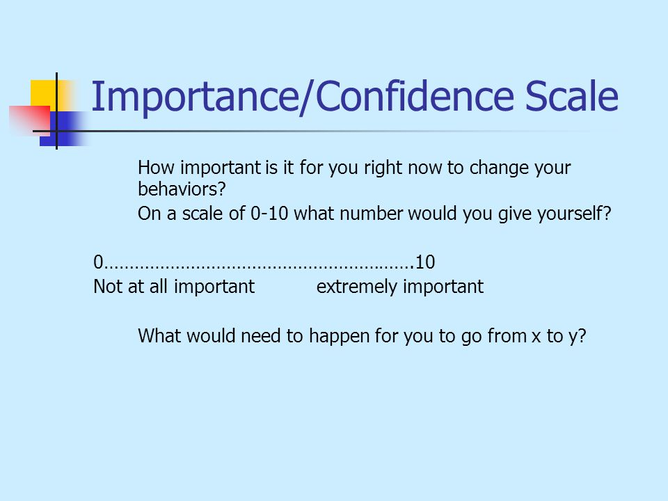 Importance/Confidence Scale How important is it for you right now to change your behaviors.
