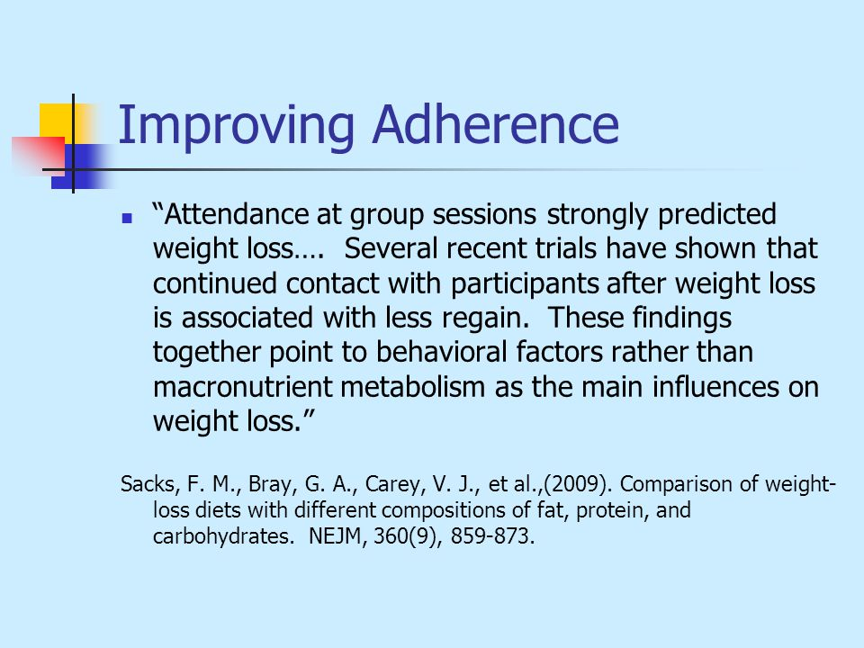 Improving Adherence Attendance at group sessions strongly predicted weight loss….