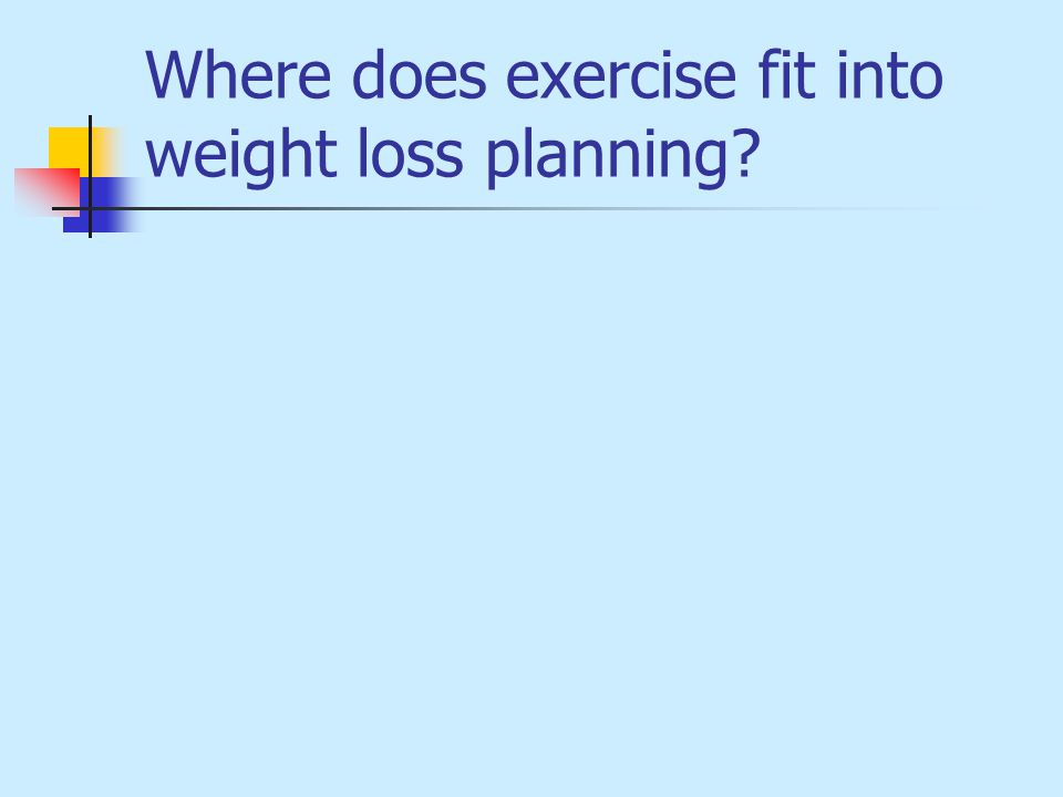 Where does exercise fit into weight loss planning