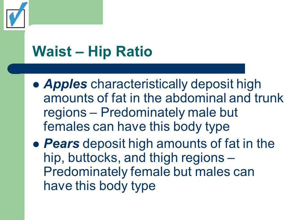 How to Calculate: Waist-to-Hip ratio (WHR) Divide the waist circumference by the hip circumference Waist circumference is defined as the smallest circumference between the rib cage and bellybutton Hip circumference is defined as the largest circumference of the hip-buttocks region