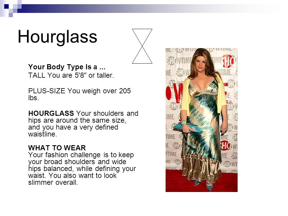 Hourglass Your Body Type Is a... TALL You are 5 8 or taller.