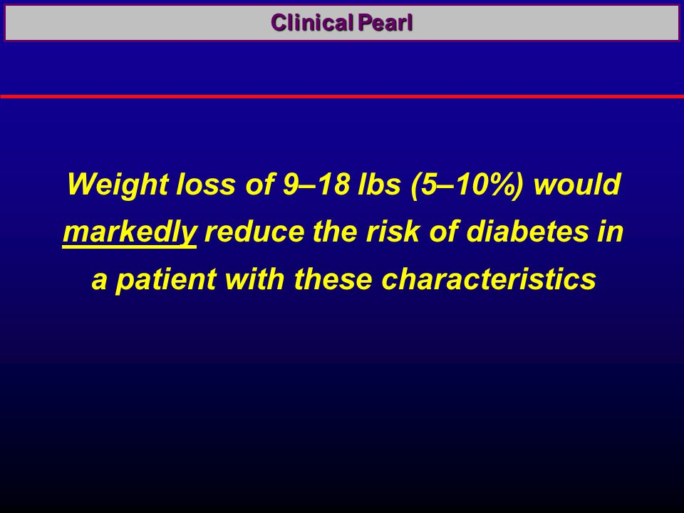 Weight loss of 9–18 lbs (5–10%) would markedly reduce the risk of diabetes in a patient with these characteristics Clinical Pearl