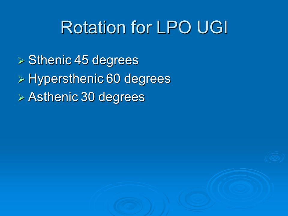 Rotation for LPO UGI  Sthenic 45 degrees  Hypersthenic 60 degrees  Asthenic 30 degrees
