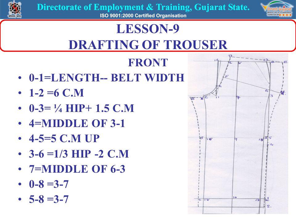LESSON-9 DRAFTING OF TROUSER FRONT 0-1=LENGTH-- BELT WIDTH 1-2 =6 C.M 0-3= ¼ HIP+ 1.5 C.M 4=MIDDLE OF 3-1 4-5=5 C.M UP 3-6 =1/3 HIP -2 C.M 7=MIDDLE OF