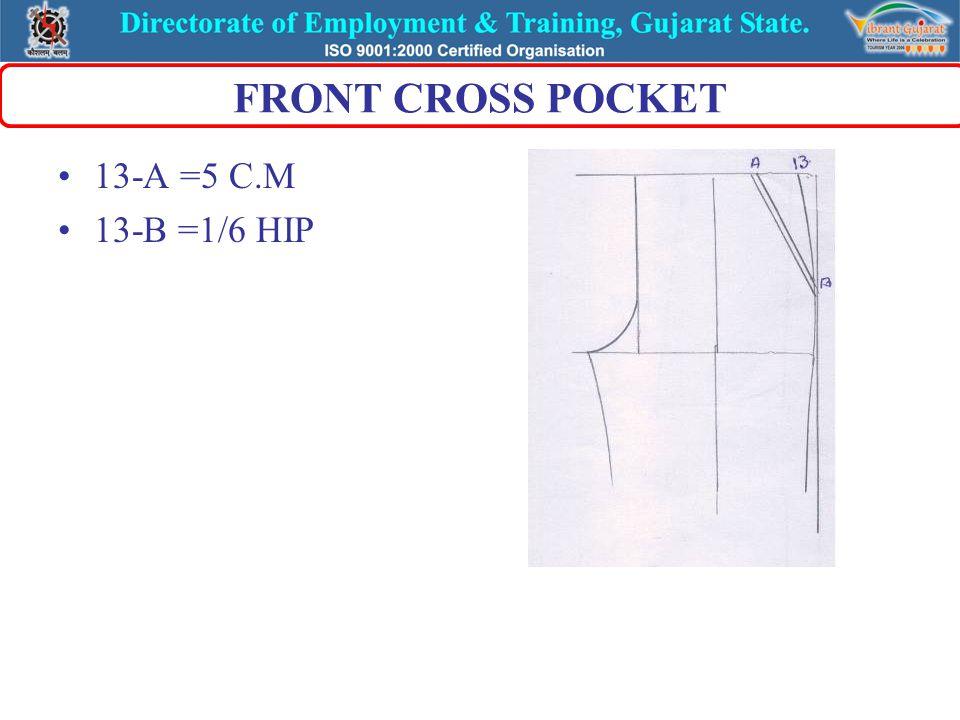 BACK DART ON WAIST LINE DART 1=MIDDLE OF D-E JOINT 1-7 1-2 =1 C.M 1-3 =1 C.M 1-4 =7 C.M BACK CUT POCKET 4-5 =1/16 HIP 4-6 =1/16 HIP