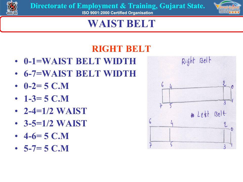 WAIST BELT LEFT BELT 0-1=WAIST BELT WIDTH 6-7=WAIST BELT WIDTH 0-2= 5 C.M 1-3= 5 C.M 2-4= ½ WAIST 3-5= ½ WAIST 4-6=15 C.M FOR LONG BELT 5-7=15 C.M FOR LONG BELT