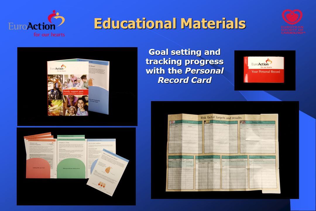 Educational Materials Goal setting and tracking progress with the Personal Record Card
