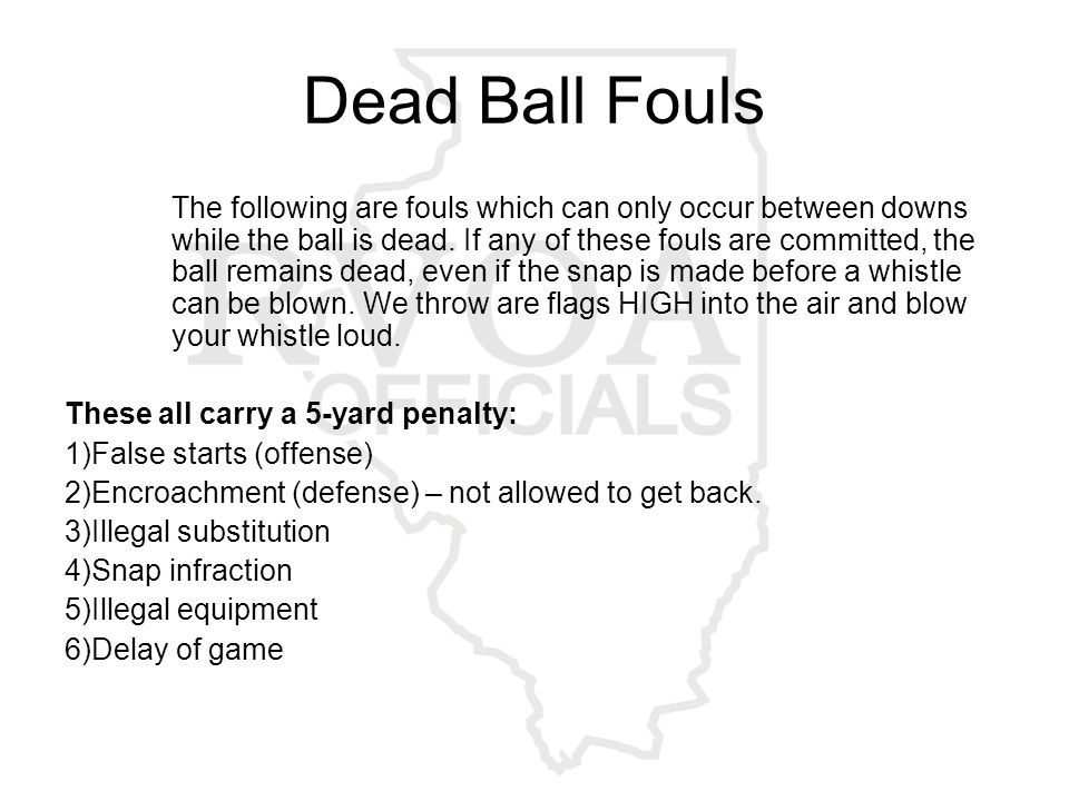 Dead Ball Fouls The following are fouls which can only occur between downs while the ball is dead.