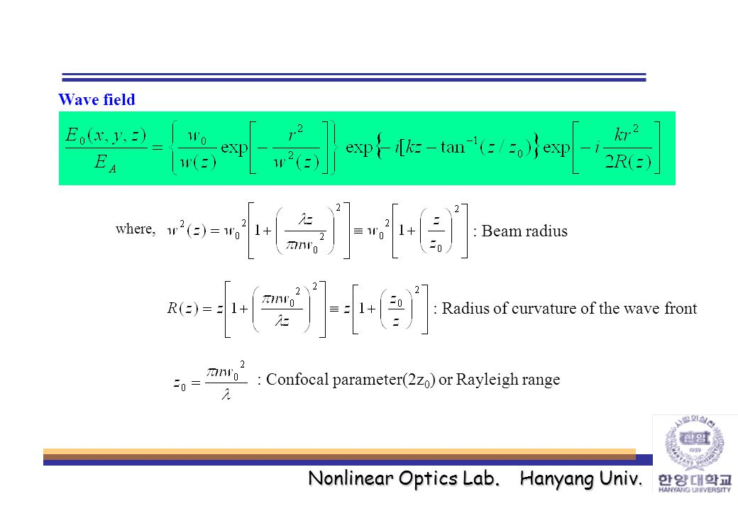 Nonlinear Optics Lab. Hanyang Univ. Wave field where, : Beam radius : Radius of curvature of the wave front : Confocal parameter(2z 0 ) or Rayleigh ra