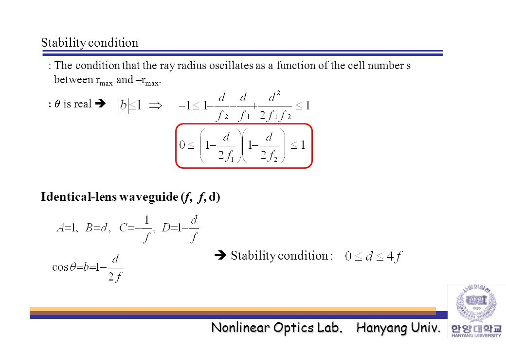 Nonlinear Optics Lab. Hanyang Univ. Stability condition : The condition that the ray radius oscillates as a function of the cell number s between r ma
