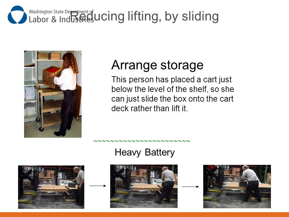 Reducing lifting, by sliding Arrange storage This person has placed a cart just below the level of the shelf, so she can just slide the box onto the c