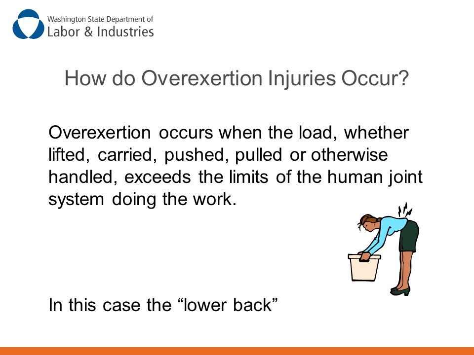 How do Overexertion Injuries Occur? Overexertion occurs when the load, whether lifted, carried, pushed, pulled or otherwise handled, exceeds the limit