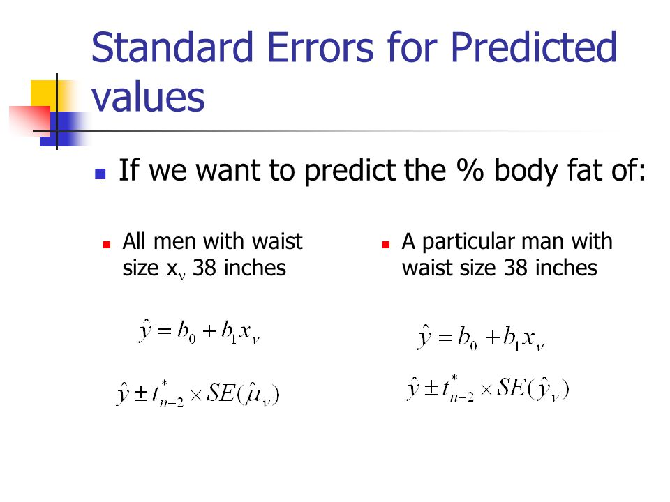 Standard Errors for Predicted values All men with waist size x 38 inches A particular man with waist size 38 inches If we want to predict the % body fat of: