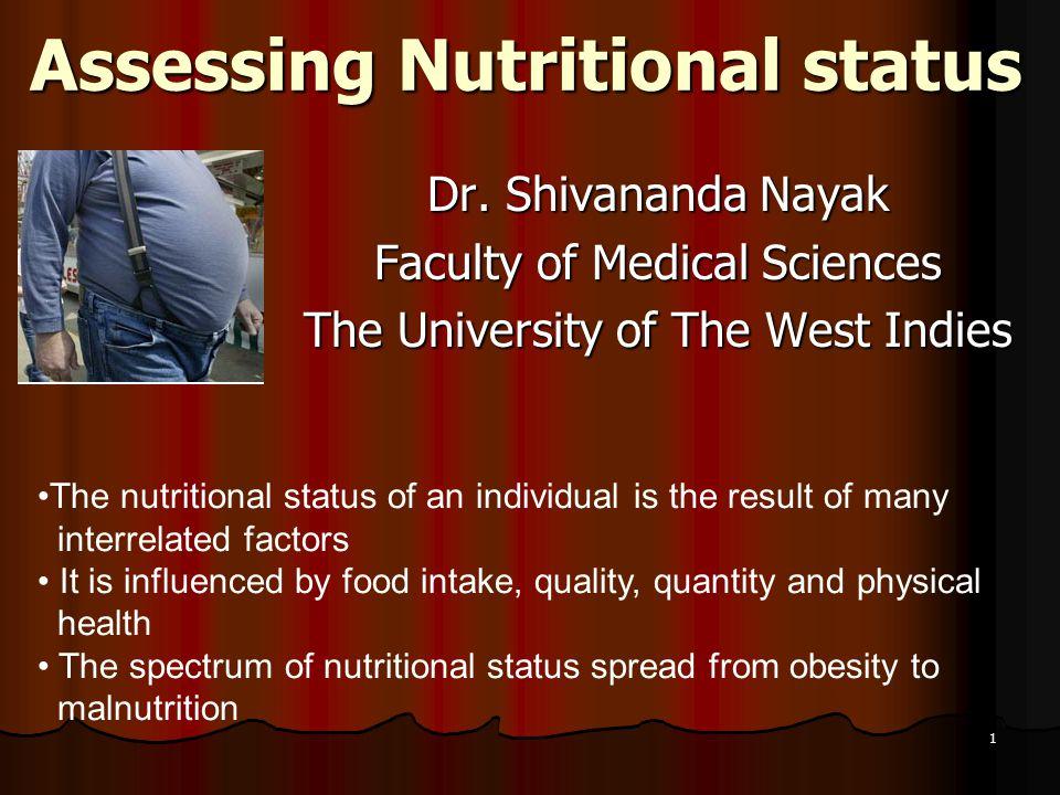 1 Assessing Nutritional status Dr.