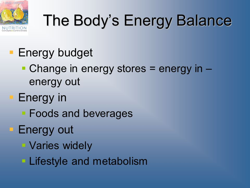 The Body's Energy Balance  Energy budget  Change in energy stores = energy in – energy out  Energy in  Foods and beverages  Energy out  Varies widely  Lifestyle and metabolism