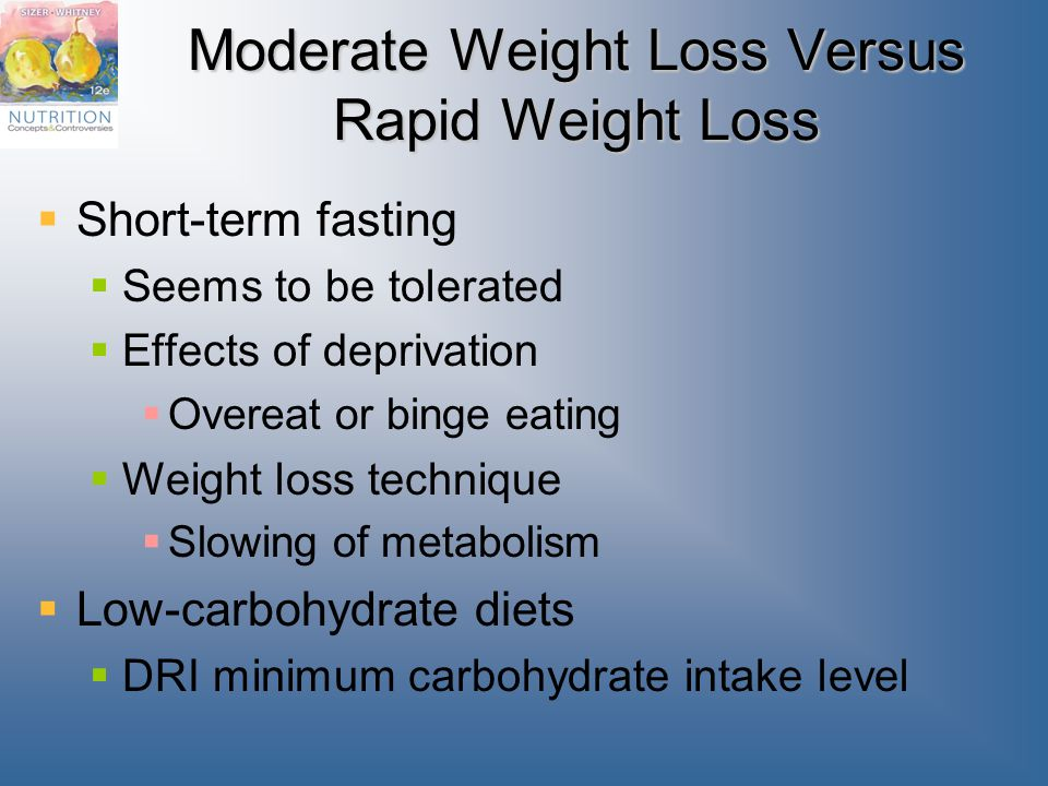 Moderate Weight Loss Versus Rapid Weight Loss  Short-term fasting  Seems to be tolerated  Effects of deprivation  Overeat or binge eating  Weight loss technique  Slowing of metabolism  Low-carbohydrate diets  DRI minimum carbohydrate intake level