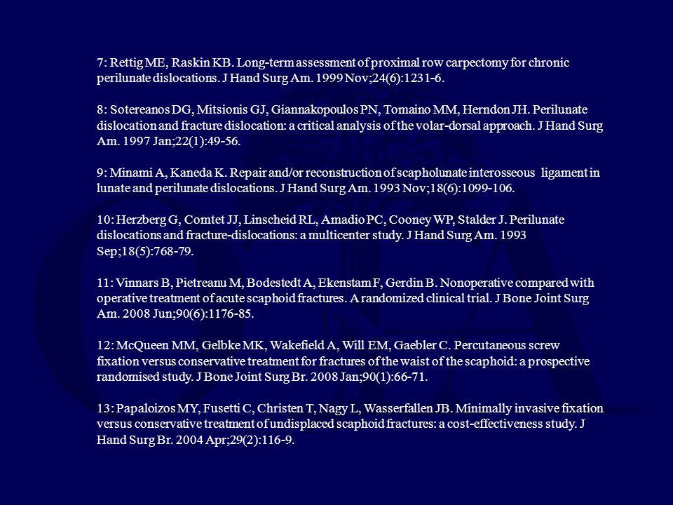7: Rettig ME, Raskin KB. Long-term assessment of proximal row carpectomy for chronic perilunate dislocations. J Hand Surg Am. 1999 Nov;24(6):1231-6. 8