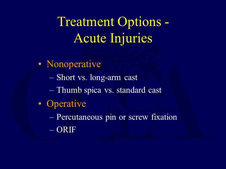 Treatment Options - Acute Injuries Nonoperative –Short vs. long-arm cast –Thumb spica vs. standard cast Operative –Percutaneous pin or screw fixation