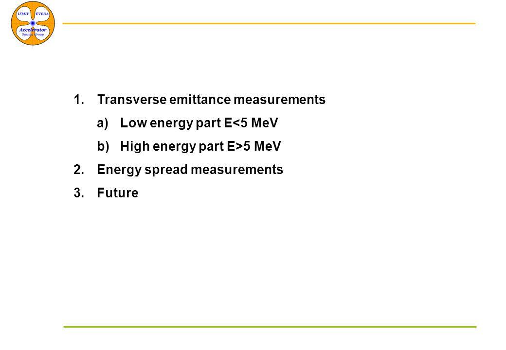 1.Transverse emittance measurements a)Low energy part E<5 MeV b)High energy part E>5 MeV 2.Energy spread measurements 3.Future