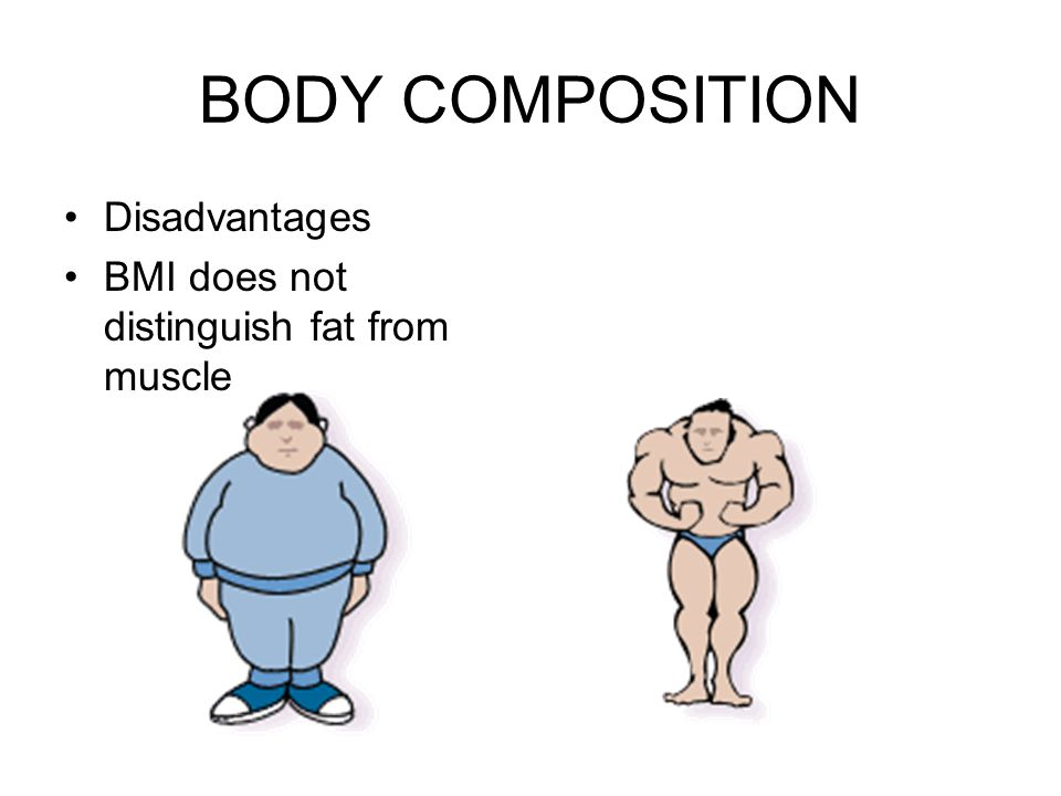 BODY COMPOSITION Disadvantages BMI does not distinguish fat from muscle