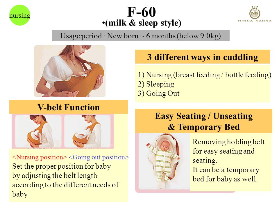 F-60 nursing 3 different ways in cuddling 1) Nursing (breast feeding / bottle feeding) 2) Sleeping 3) Going Out V-belt Function Set the proper position for baby by adjusting the belt length according to the different needs of baby Removing holding belt for easy seating and seating.