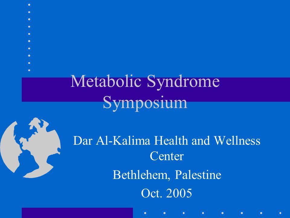 Metabolic Syndrome Symposium Dar Al-Kalima Health and Wellness Center Bethlehem, Palestine Oct.