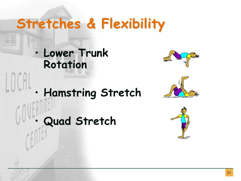 31 Lower Trunk Rotation Hamstring Stretch Quad Stretch Stretches & Flexibility