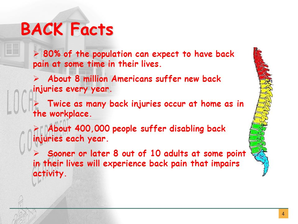 4  80% of the population can expect to have back pain at some time in their lives.