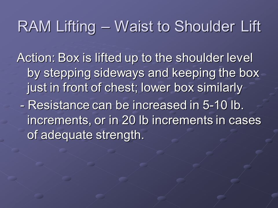 RAM Lifting – Waist to Shoulder Lift Action: Box is lifted up to the shoulder level by stepping sideways and keeping the box just in front of chest; l