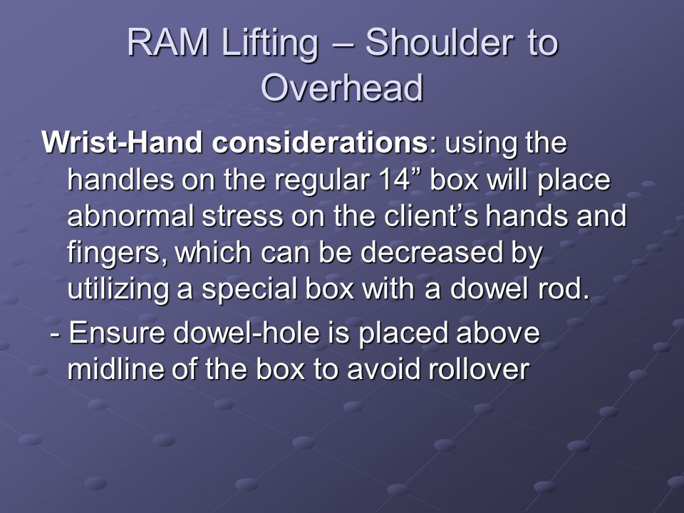 """RAM Lifting – Shoulder to Overhead Wrist-Hand considerations: using the handles on the regular 14"""" box will place abnormal stress on the client's hand"""