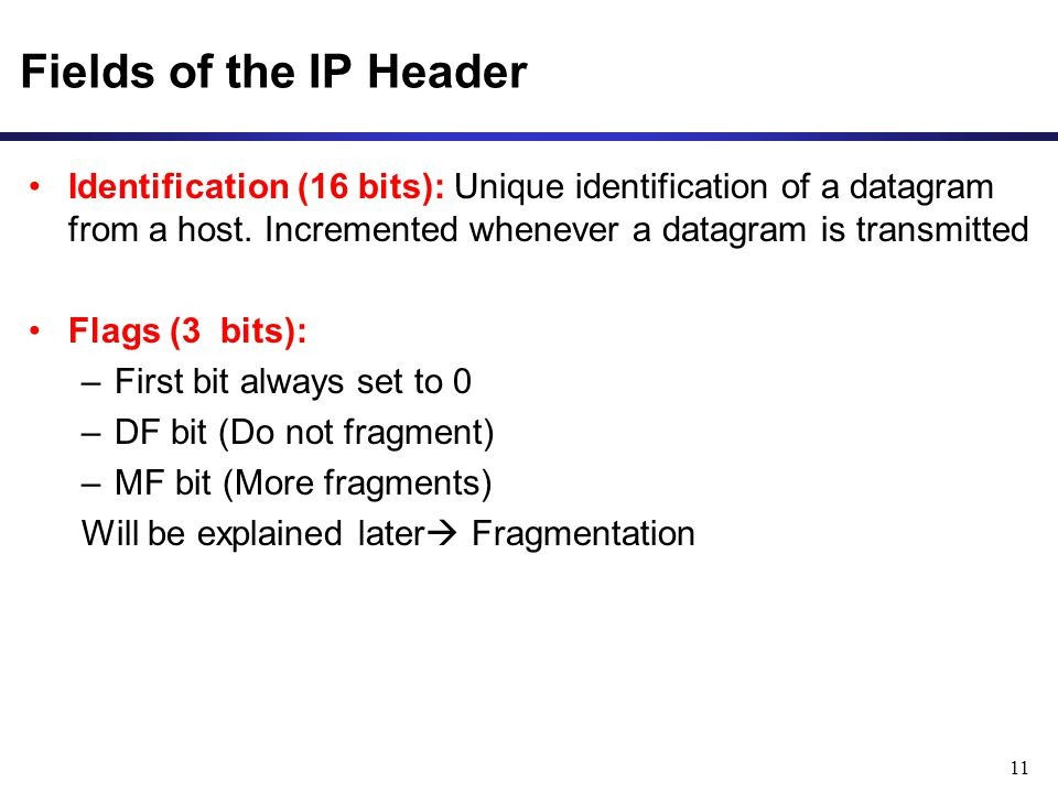 11 Fields of the IP Header Identification (16 bits): Unique identification of a datagram from a host.