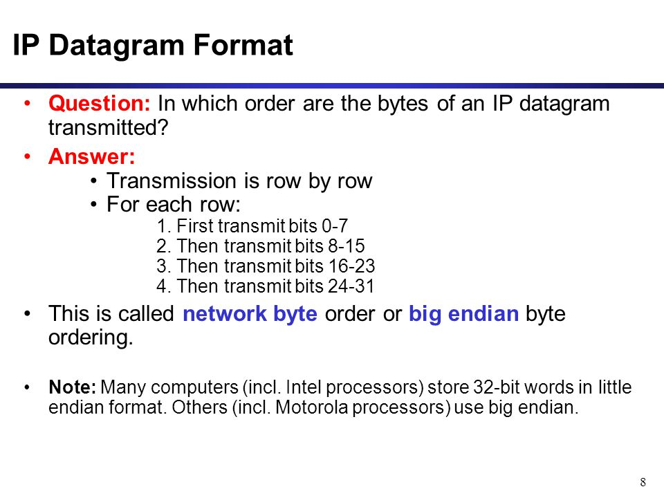 8 Question: In which order are the bytes of an IP datagram transmitted.