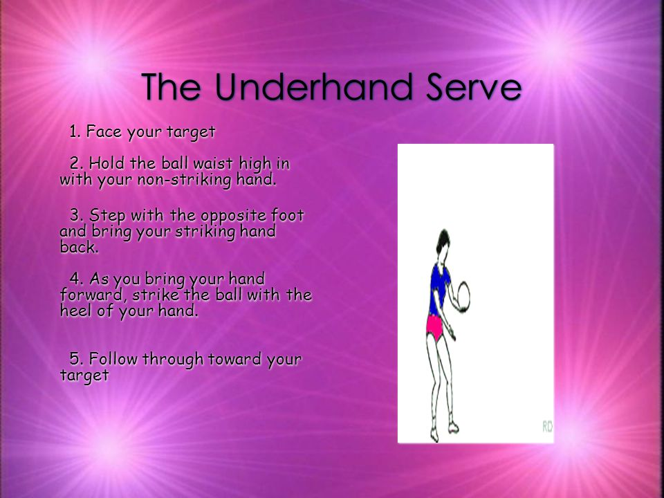 RULES FOR SERVE The ball must be served behind the service line.