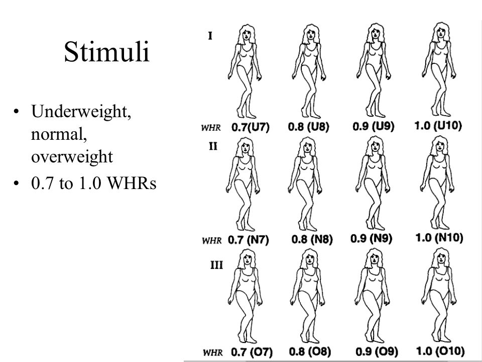 Stimuli Underweight, normal, overweight 0.7 to 1.0 WHRs Stimuli