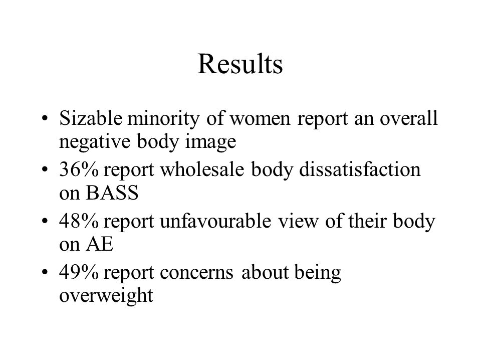 Results Sizable minority of women report an overall negative body image 36% report wholesale body dissatisfaction on BASS 48% report unfavourable view of their body on AE 49% report concerns about being overweight