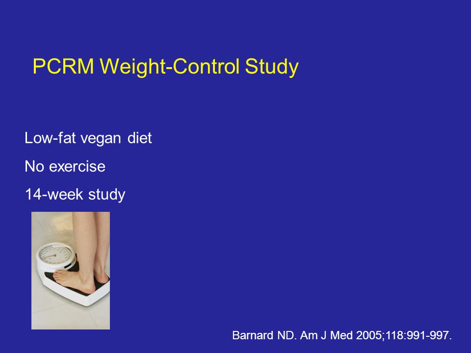 PCRM Weight-Control Study Low-fat vegan diet No exercise 14-week study Barnard ND.