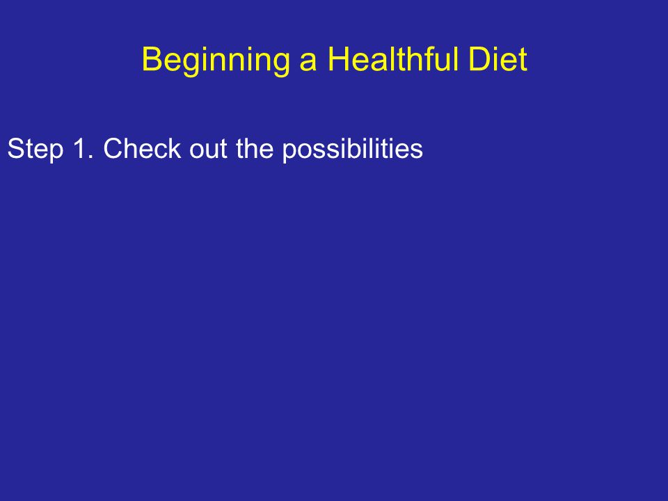 Beginning a Healthful Diet Step 1. Check out the possibilities