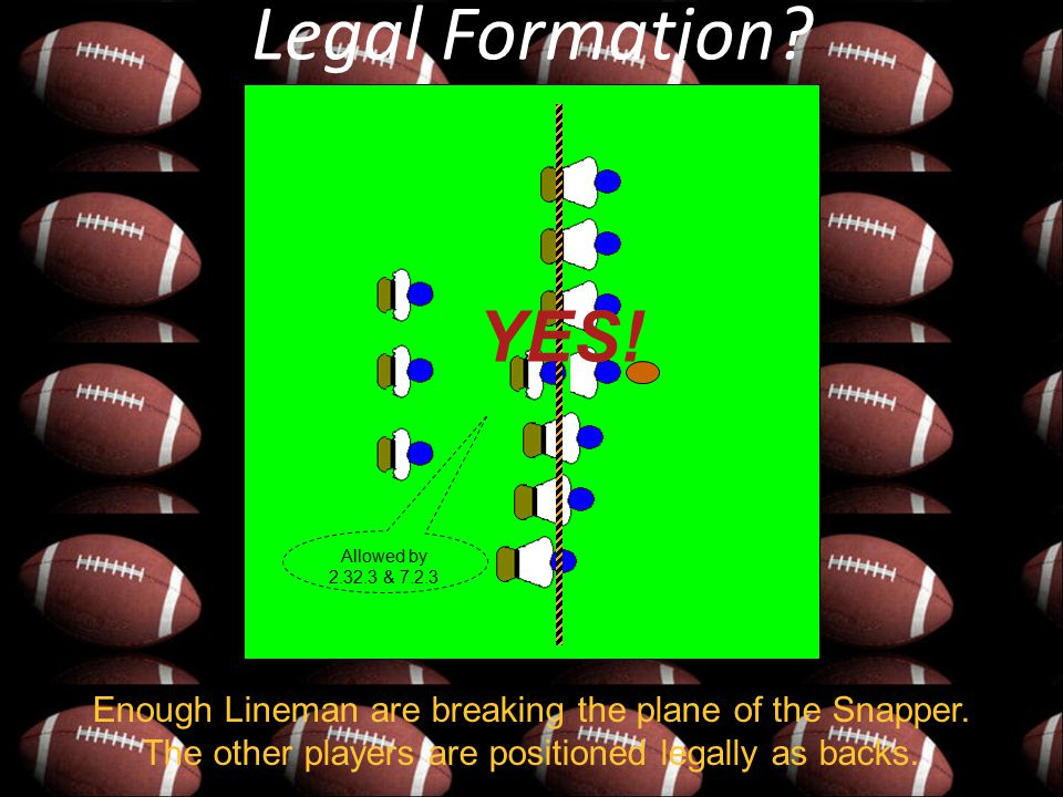 Legal Formation? Allowed by 2.32.3 & 7.2.3 Enough Lineman are breaking the plane of the Snapper. The other players are positioned legally as backs. YE