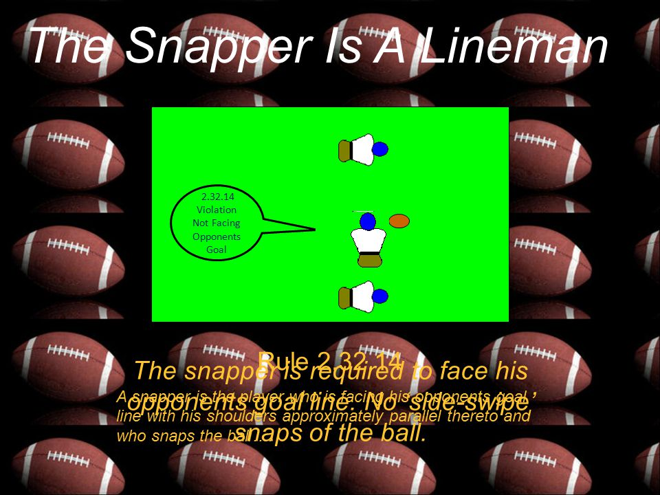 The Snapper Is A Lineman Rule 2.32.14 A snapper is the player who is facing his opponents goal line with his shoulders approximately parallel thereto and who snaps the ball….