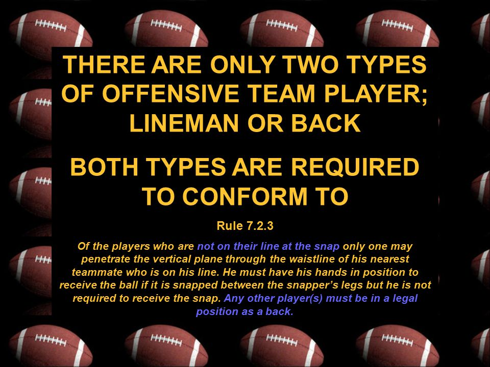 THERE ARE ONLY TWO TYPES OF OFFENSIVE TEAM PLAYER; LINEMAN OR BACK BOTH TYPES ARE REQUIRED TO CONFORM TO Rule 7.2.3 Of the players who are not on their line at the snap only one may penetrate the vertical plane through the waistline of his nearest teammate who is on his line.