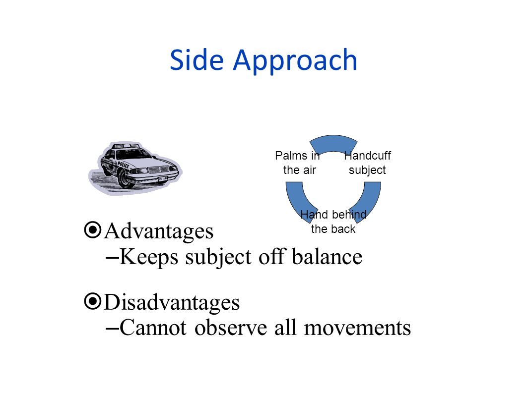 Side Approach  Advantages – Keeps subject off balance  Disadvantages – Cannot observe all movements Handcuff subject Hand behind the back Palms in the air