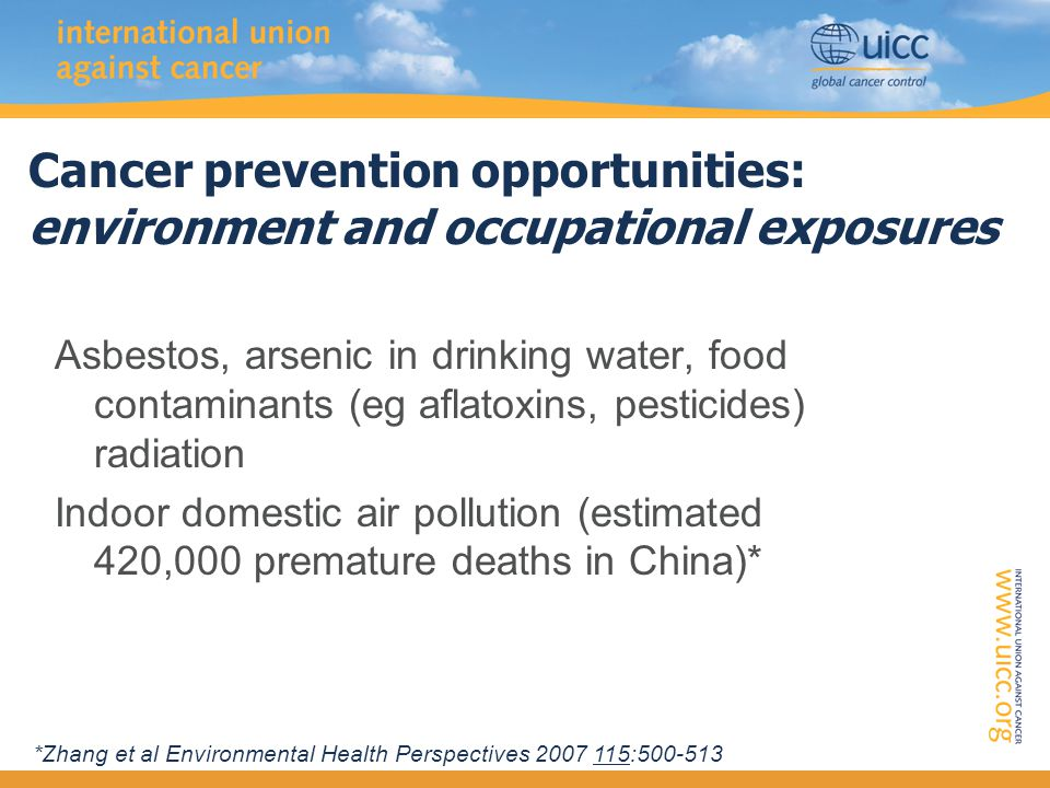 Cancer prevention opportunities: environment and occupational exposures Asbestos, arsenic in drinking water, food contaminants (eg aflatoxins, pesticides) radiation Indoor domestic air pollution (estimated 420,000 premature deaths in China)* *Zhang et al Environmental Health Perspectives 2007 115:500-513