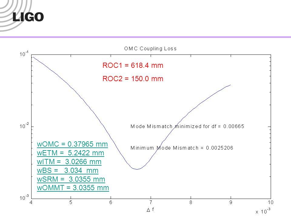 wOMC = 0.37965 mm wETM = 5.2422 mm wITM = 3.0266 mm wBS = 3.034 mm wSRM = 3.0355 mm wOMMT = 3.0355 mm ROC1 = 618.4 mm ROC2 = 150.0 mm