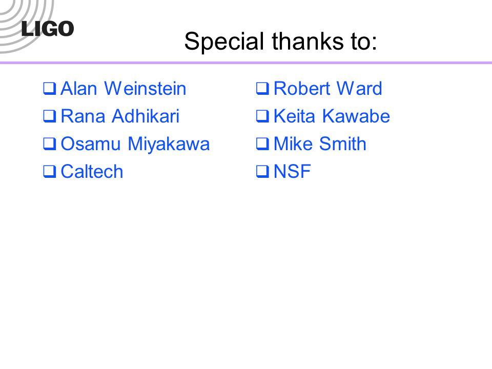 Special thanks to:  Alan Weinstein  Rana Adhikari  Osamu Miyakawa  Caltech  Robert Ward  Keita Kawabe  Mike Smith  NSF