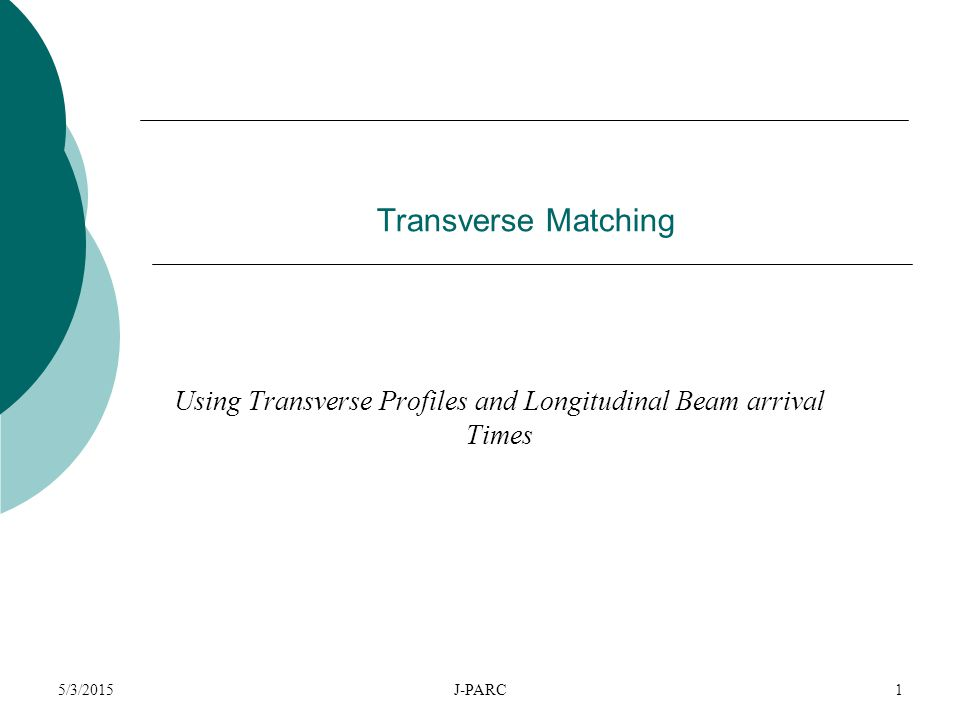 5/3/2015J-PARC1 Transverse Matching Using Transverse Profiles and Longitudinal Beam arrival Times