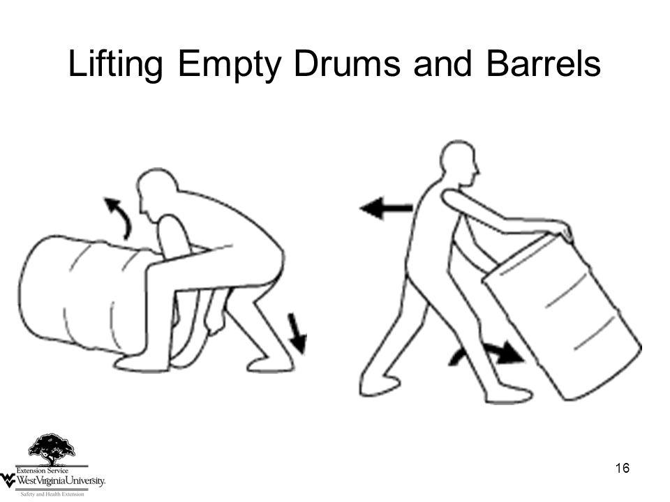 16 Lifting Empty Drums and Barrels
