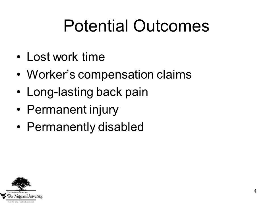 4 Potential Outcomes Lost work time Worker's compensation claims Long-lasting back pain Permanent injury Permanently disabled